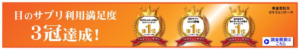 目のサプリ利用満足度3冠達成!